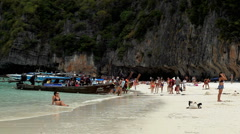 Maya bay Phi phi leh island Thailand, movie the Beach was filmed Stock Footage