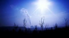 Rise smoke power plant Stock Footage