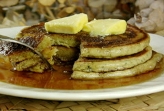Eating Pancakes with Maple Syrup (NTSC) Stock Footage