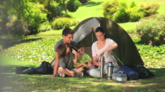 Family going camping Stock Footage