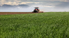 Wheat field and Tractor Stock Footage