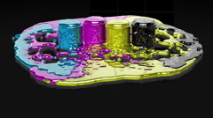 Paint CMYK splashing on black reflective floor Stock Footage