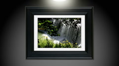 Spring rain runoff over falls  Pic Framed Stock Footage
