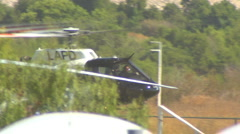 Stock Video Footage of LAPD Helicopter ground hover