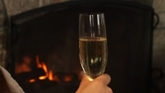 Champaign fireplace 2 Stock Footage
