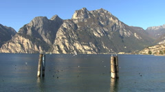 Piers and birds at Lake Garda   Stock Footage