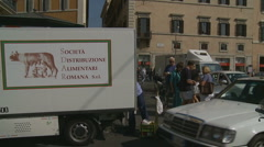 Glidecam slow motion tourists in Rome Stock Footage