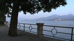 Italy Lago Maggiore with railig Stock Footage