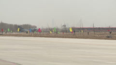 J-10 Fighter aircraft on runway waiting to take off panoramic Stock Footage