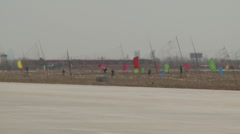 J-10 Fighter aircraft rolling on runway before takeoff Stock Footage