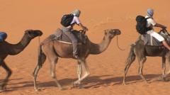 Camel ride in Sahara, Morocco Stock Footage