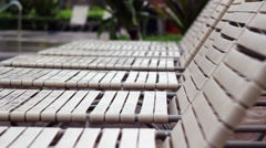 Chairs by pool Stock Footage