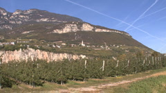 Italy Alto Adige apples and village Stock Footage