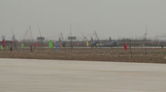 J-10 Fighter aircraft waiting to take off Stock Footage