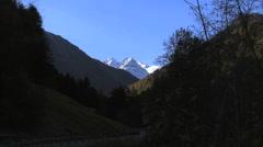 Italy snowcapped Cima di Trafoi zoom Stock Footage