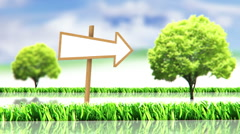 grass with trees and sign - stock footage