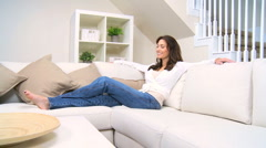 Brunette Female Peaceful Relaxation Stock Footage