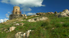 Tourists on the Genoese fortress Cembalo. Stock Footage