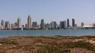 Stock Video Footage of San Diego Skyline Pan Left (HD)