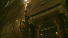 Incense burner Inside Rome church Glidecam two Stock Footage