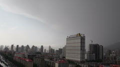 Xining China city urban landscape clouds rain weather skyline time lapse - stock footage