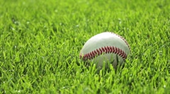 Baseball in grass, picked up by player - stock footage