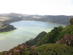 Furnas crater lake Stock Footage