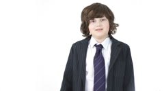 Young cute business boy with crossed hands portrait, isolated on white Stock Footage