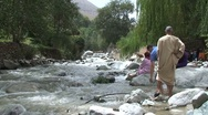 Family at Ourika river Stock Footage