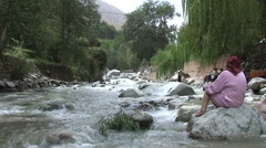 Stock Video Footage of Family at Ourika river