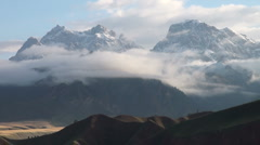Mountains mist Tibet timelapse epic landscape fog scenery China - stock footage