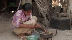 Cambodia: Cleaning Fish Stock Footage
