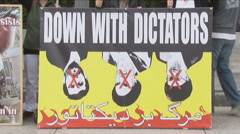 Iranian opposition protest sign - stock footage