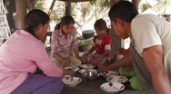Stock Video Footage of Cambodia: Eating the Noon Meal