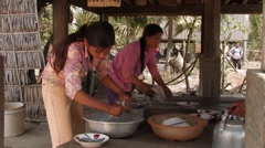 Cambodia: Doing the Dishes Stock Footage