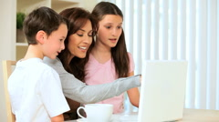 Mom & Kids With Laptop Computer Stock Footage