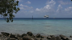 Ship in the Rangiroa lagoon Stock Footage