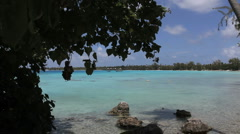 Bluegreen lagoon in Rangiroa Stock Footage