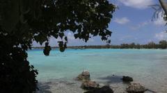 Bluegreen lagoon in Rangiroa Stock Footage