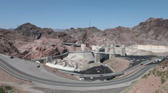 Hoover Dam wide view mountains HD 9327 Stock Footage