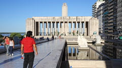 Flag monument time lapse with tourists in the city of Rosario, Argentina Stock Footage
