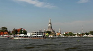 View to Wat Arun from the Chao Phraya River, Buddhist Temple, Thailand  Stock Footage