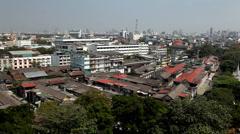 Aerial view of Bangkok from Wat Saket, Golden Mountain,Thailand Stock Footage