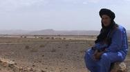 Nomad man in landscape Stock Footage