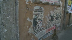 Italian political posters in Rome glidecam Stock Footage