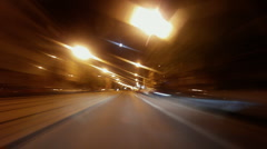 Night car trip - engine bonnet view 2 Stock Footage