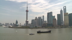 Shanghai Pudong from above boat passing Huangpu river - stock footage