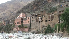Ourika river and berber houses Stock Footage