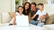 Family Using Internet Webchat Stock Footage