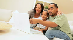 African American Family Using Web Chat Stock Footage